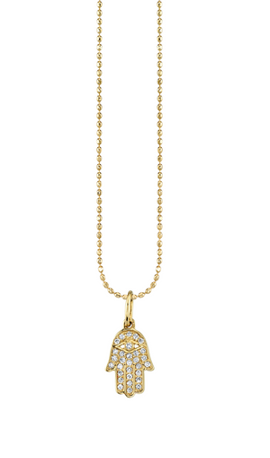 Small Pave Hamsa Charm Necklace W/ Diamond - Millo Jewelry