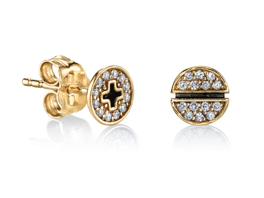 Small Pave Screw Studs - Millo Jewelry