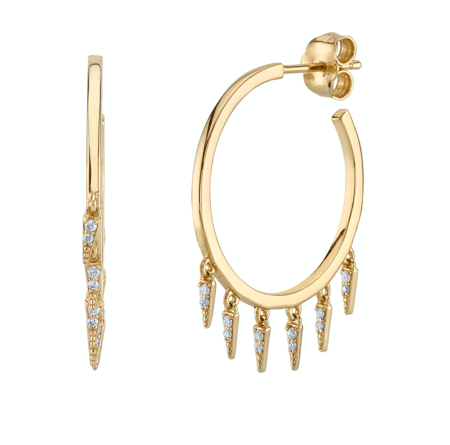 Pave Fringe Drop Medium Hoops - Millo Jewelry