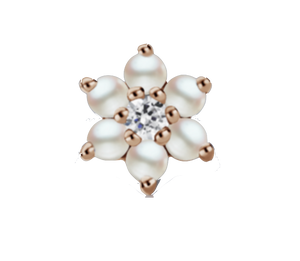 7mm Pearl and Diamond Flower Earstud - Millo Jewelry