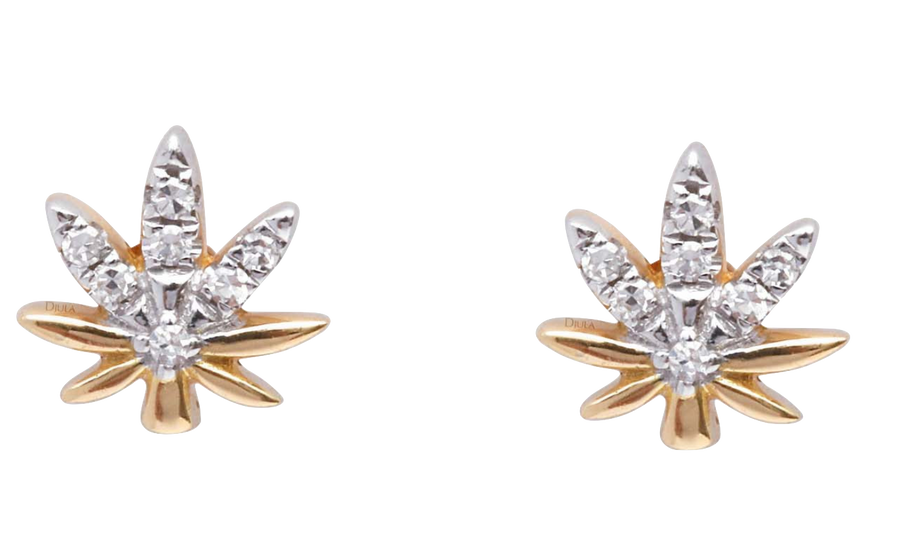 Leaf Gold and Diamonds Earrings