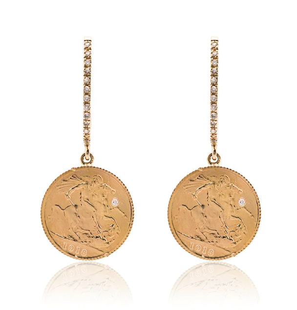 24K Yellow Gold Coin Drop Diamond Earrings