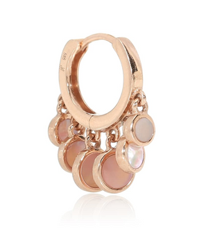 Mother of Pearl Disco Shaker 14kt Rose-Gold Hoop Earring - Millo Jewelry