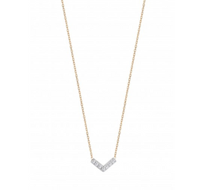 Tiny Chevron Necklace in White Diamonds