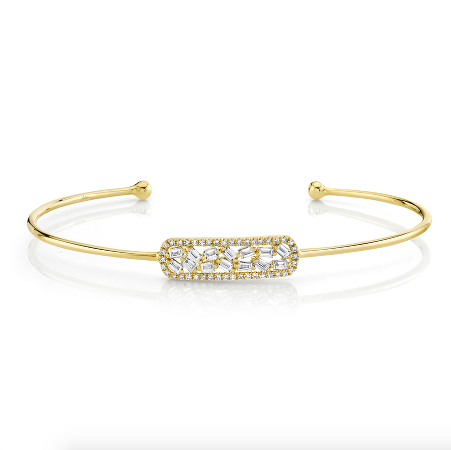 14K Gold Diamond Baguette Bar Bangle