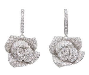 Pave Rose Drop Earrings - Millo Jewelry