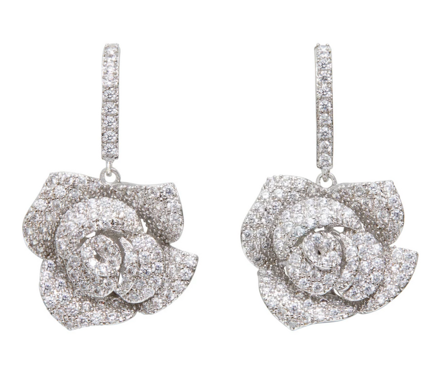 Pave Rose Drop Earrings