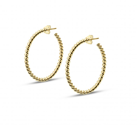 S Thin Twisted Gold Plated Loops