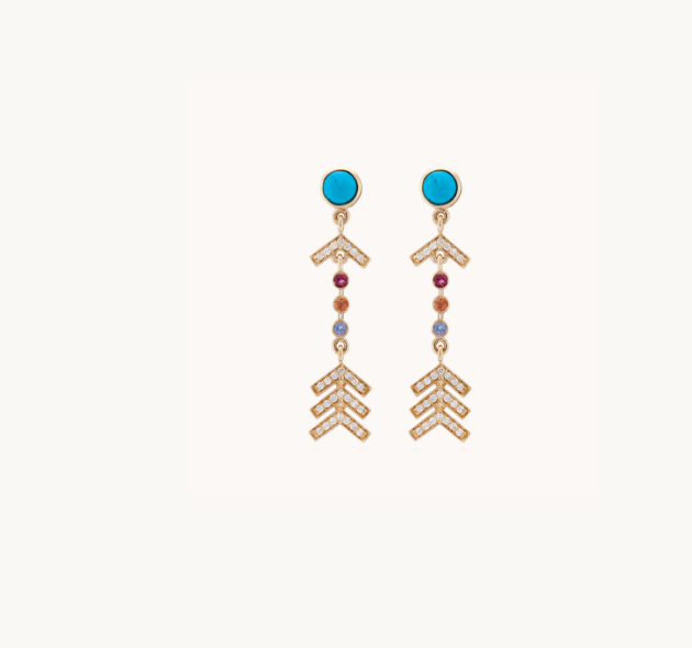 Short Arrow Earrings Pavé Diamonds