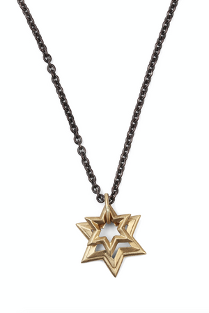 Gold Star Of David Trio On Oxidized Chain Necklace - Millo Jewelry