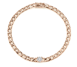 Plain chain bracelet w/ round diamond center