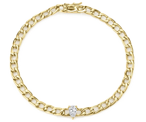 Plain chain bracelet w/ pear diamond center