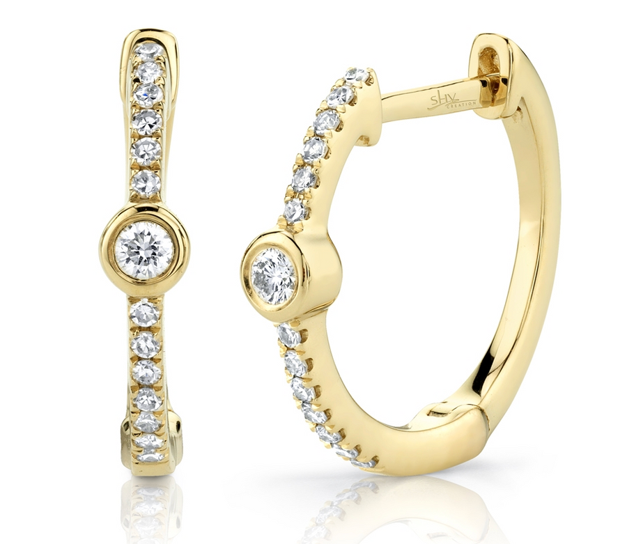 0.13CT 14K YELLOW GOLD DIAMOND BEZEL HOOP EARRING