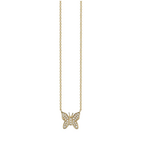 MINI GOLD & DIAMOND BUTTERFLY NECKLACE