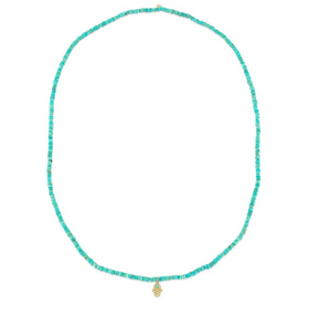 MINI YELLOW GOLD HAMSA NECKLACE ON ARIZONA TURQUOISE
