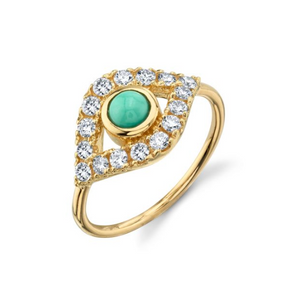 YELLOW-GOLD & PAVE DIAMOND EXTRA-LARGE TURQUOISE EVIL EYE RING - Millo Jewelry