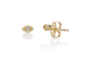 Yellow  Gold  & Small Open  Diamond Evil Eye Studs