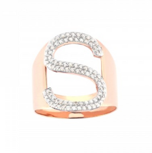 S Letter White Diamond Ring - Millo Jewelry