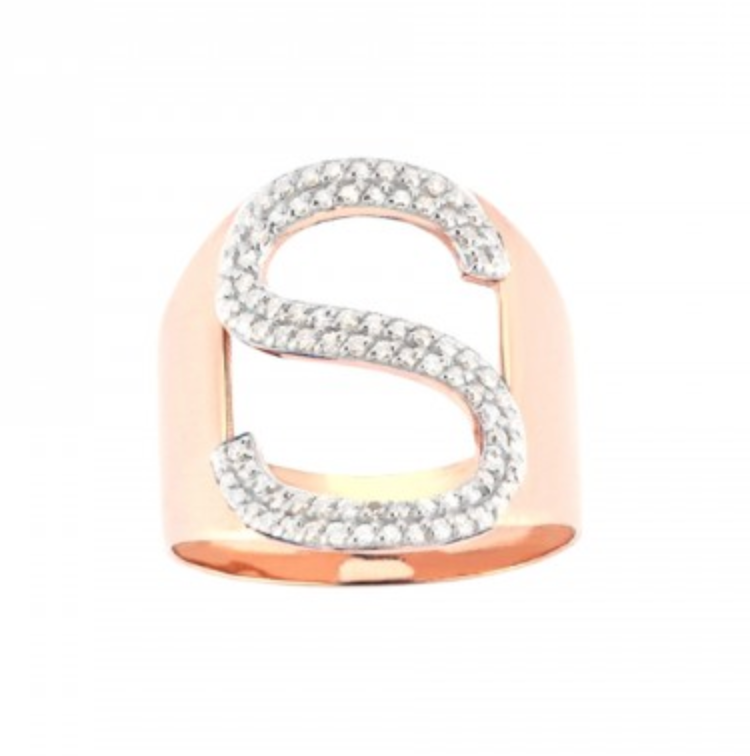 S Letter White Diamond Ring