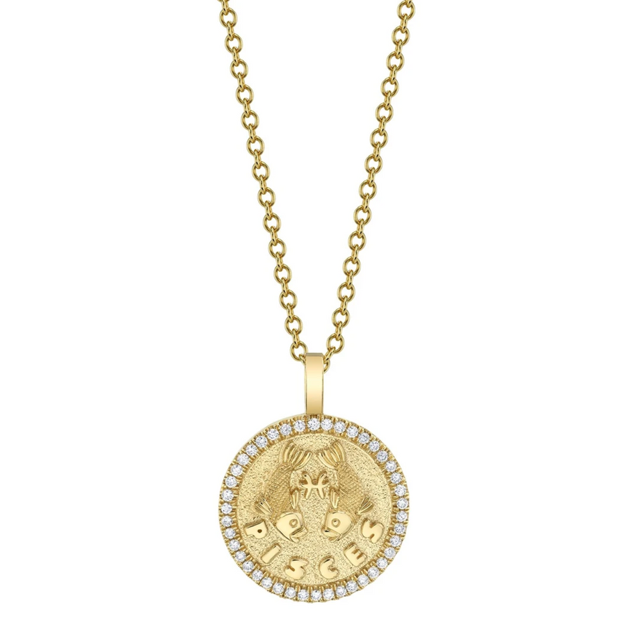 Small Zodiac Coin Pendant With Diamond Frame - Millo Jewelry