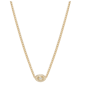 14K Small Diamond Halo Necklace With a Marquis Diamond Eye