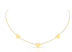 14K Yellow Gold Triple Floating Heart Necklace - Millo Jewelry