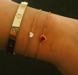 Ruby Heart Chain Bracelet