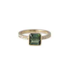 Square Green Tourmaline Pave Band Ring - Millo Jewelry