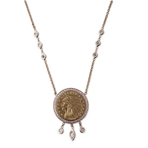 Small Antique Coin Necklace w/Pave Diamonds & Shaker