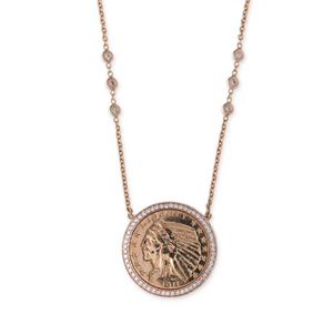 Medium Pave Diamond Antique Coin Necklace