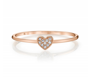 14K Rose Gold Diamond Mini Heart Ring