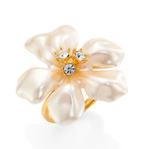 Faux Pearl & Crystal Flower Ring