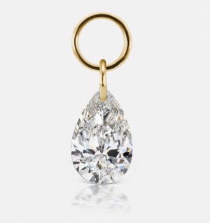 6mm by 4mm Drilled Diamond Pear Charm