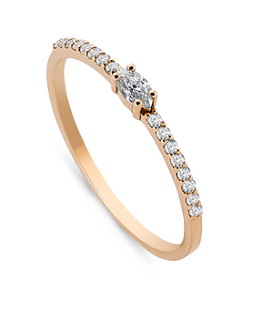 Marquise and White Diamond Pavé Ring