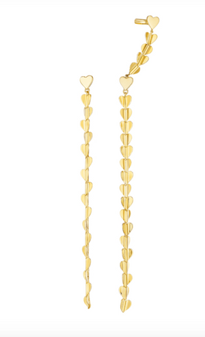 Wings Of Love Drop Earrings With Cuff, Small - Millo Jewelry