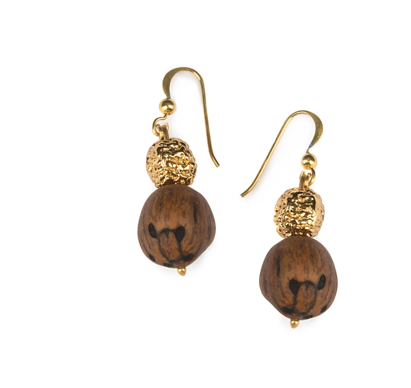 WOOD BEADS RESORT EARRINGS IN GOLD