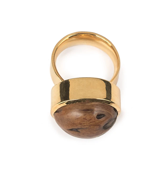 WOOD BEADS RESORT RING IN GOLD