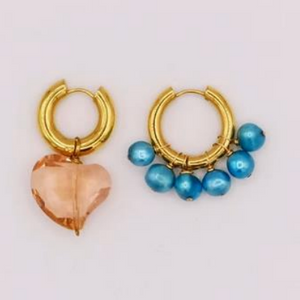 BO-85 Mismatched Turquoise and Pink Heart Earrings - Millo Jewelry