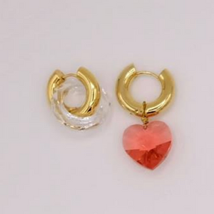 BO-108 Mismatched Red Heart Earrings - Millo Jewelry