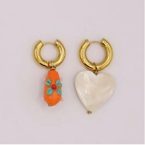 BO-109 Mismatched Orange and Crystal Heart Earrings - Millo Jewelry