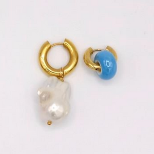 BO-9 Mismatched Blue stone and Pearl Drop Earrings - Millo Jewelry