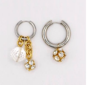 BO-11 Mismatched Gold Crystal Earrings