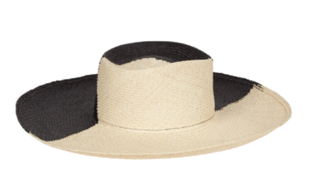 Dury Lane Black and Cream Panama Straw Hat