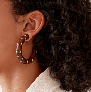 Crystal-Embellished Wood Hoop Earrings - Millo Jewelry