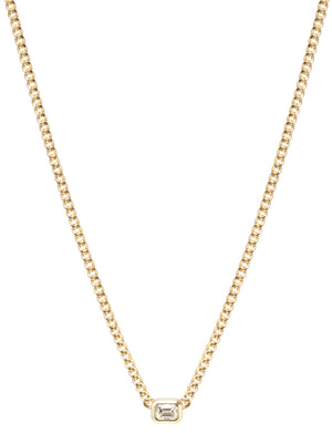 14K Gold Bezel Set White Emerald Cut Diamond Necklace