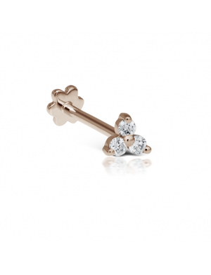 Diamond Trinity Threaded Stud - Millo Jewelry