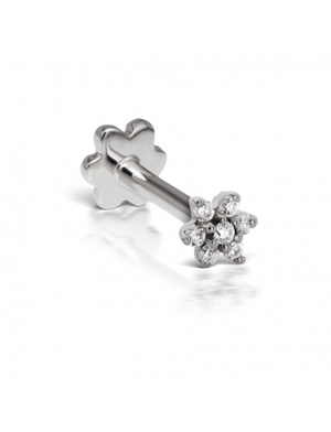 3mm Diamond Flower Threaded Stud - Millo Jewelry