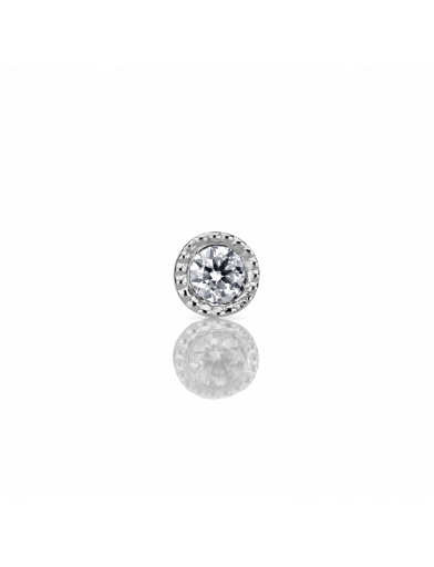 1.5mm Scalloped Set Diamond Threaded Stud - Millo Jewelry