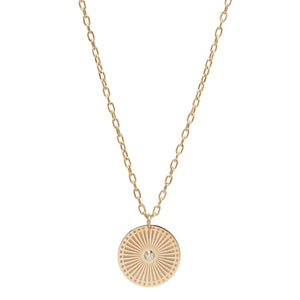 Medium Sunbeam Medallion Necklace with a White Diamond in Center on a Small Square Oval Chain - Millo Jewelry