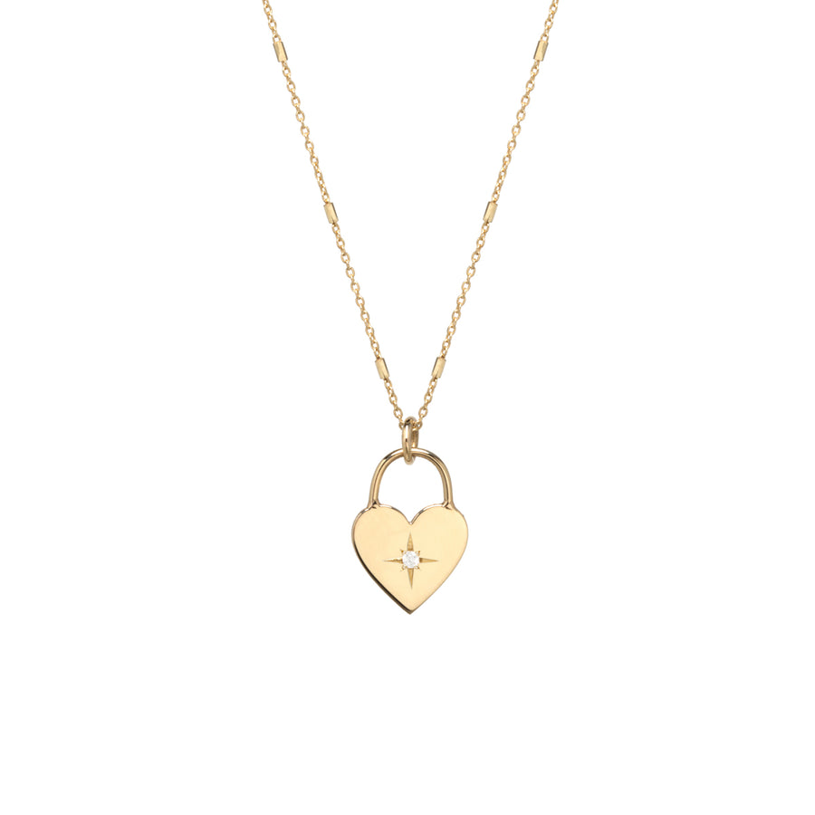 14K Diamond Heart Padlock Necklace